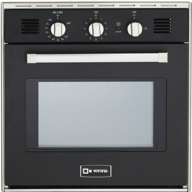 "Verona® 24"" Gas Built In Single Wall Oven-Matte Black-VEBIG24E"
