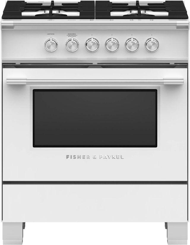 Cuisinière au gaz autoportante Fisher Paykel® de 3,5 pi³ de 30 po - Blanc-OR30SCG4W1