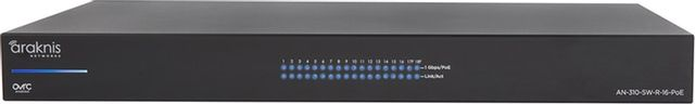 SnapAV Araknis Networks® 310 Series Black 16+2 Rear Ports L2 Managed Gigabit Switch with Full PoE+-AN-310-SW-R-16-POE
