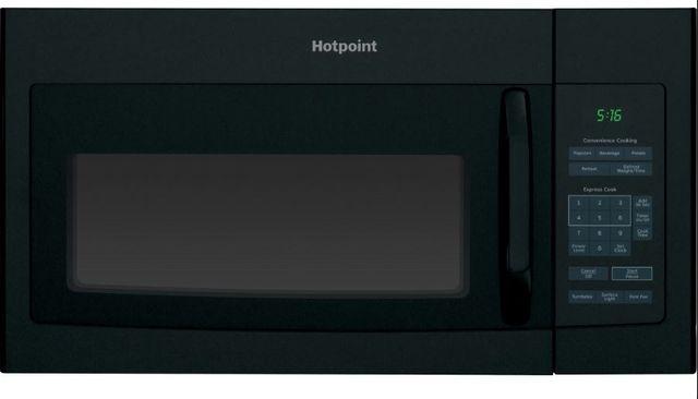 Hotpoint® 1.6 Cu. Ft. Black Over The Range Microwave Oven-RVM5160DHBB