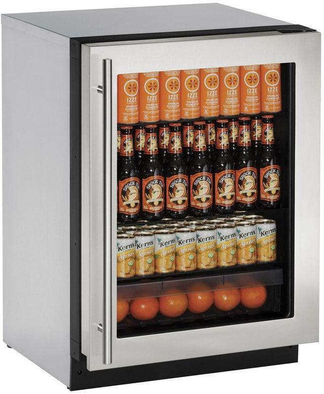 U-Line® 2000 Series 4.9 Cu. Ft. Stainless Steel Under the Counter Refrigerator-2224RGLS-00B