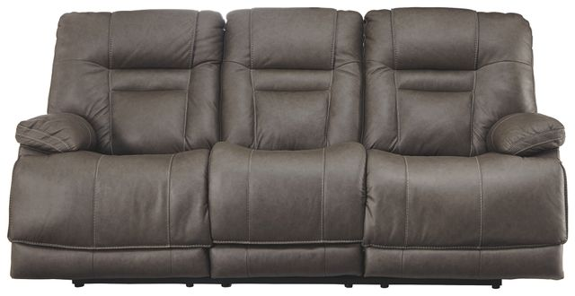 Signature Design by Ashley® Wurstrow Smoke Power Reclining Sofa with Adjustable Headrest-U5460215