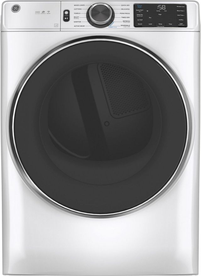 GE® 7.8 Cu. Ft. White Smart Front Load Gas Dryer-GFD65GSSNWW