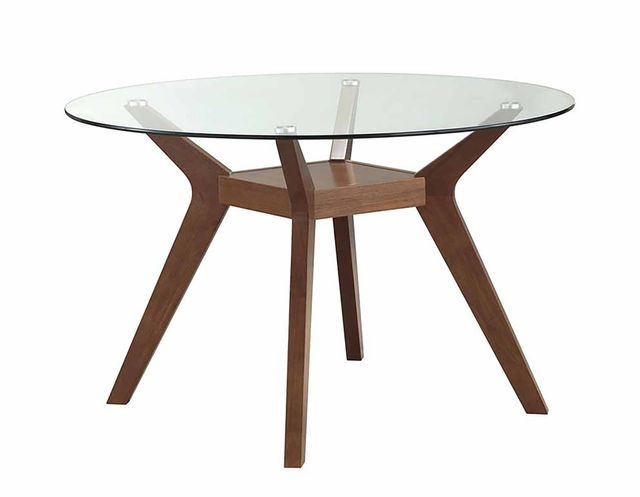 Coaster® Paxton Nutmeg Round Glass Top Dining Table-122180