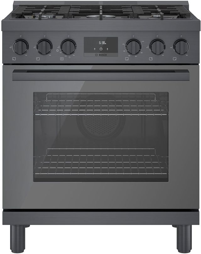 """Bosch 800 Series 30"""" Black Stainless Steel Industrial Style Natural Gas Range-HGS8045UC"""