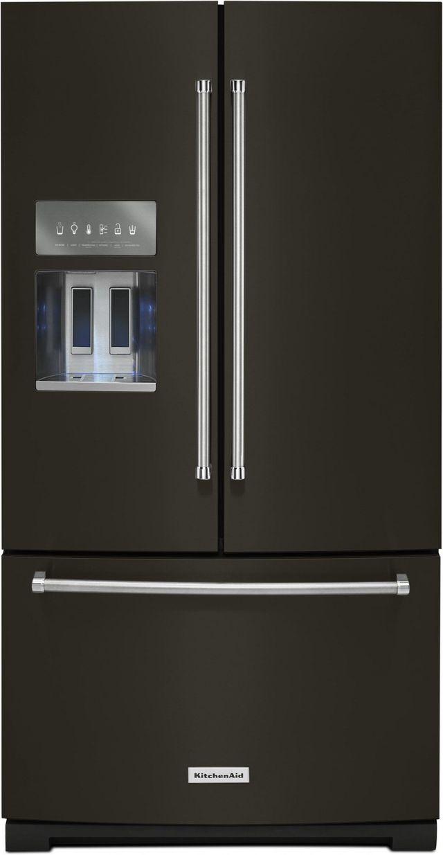 KitchenAid® 26.8 Cu. Ft. Black Stainless Steel with PrintShield™ Finish French Door Refrigerator-KRFF507HBS
