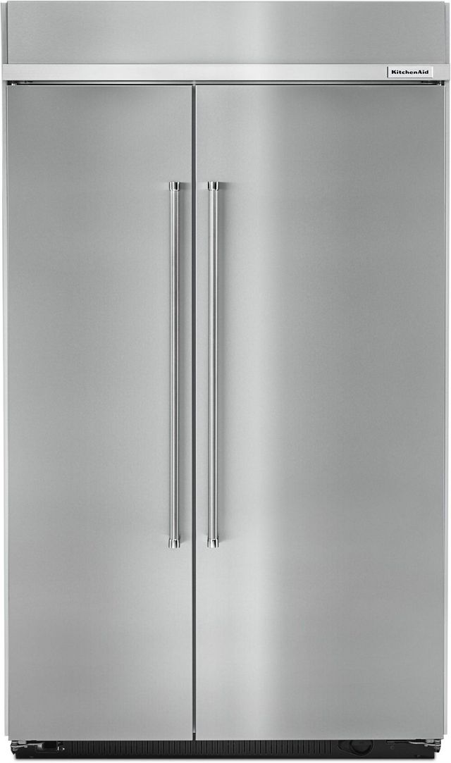 KitchenAid® 30.02 Cu. Ft. Stainless Steel with PrintShield™ Finish Built In Side-By-Side Refrigerator-KBSN608ESS