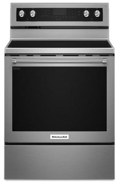 Cuisinière électrique autoportante de 30 po KitchenAid® de 6,4 pi³ - Acier inoxydable-YKFEG500ESS