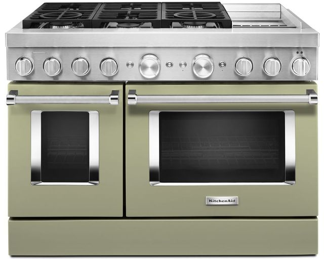 """KitchenAid® 48"""" Avocado Cream Commercial-Style Free Standing Dual Fuel Range with Griddle-KFDC558JAV"""