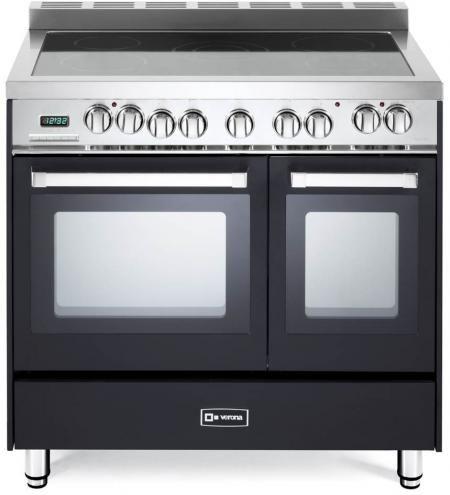 """Verona N Series 36"""" Matte Black Free Standing Double Oven Electric Range-VEFSEE365DE"""