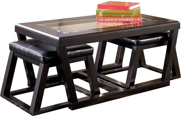 Signature Design by Ashley® Kelton Espresso Coffee Table with Two Nesting Stools-T592-1