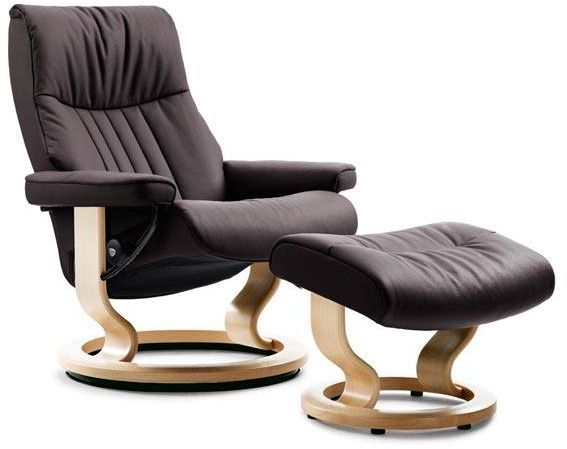 Stressless® by Ekornes® Crown Small Classic Base Chair and Ottoman-1293015