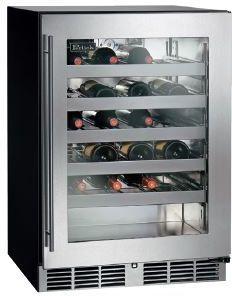 "Perlick C-Series 24"" Wine Reserve-Wood Overlay/Glass-HC24WB-4L"