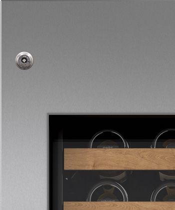 "Sub-Zero® 30"" Stainless Steel Wine Storage Door Panel with Tubular Handle and Lock - Left Hinge-7025397"