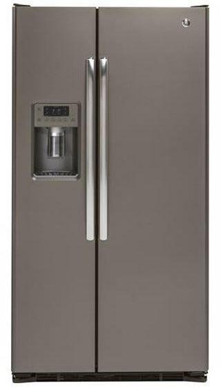 GE® 22.0 Cu. Ft. Counter Depth Side By Side Refrigerator-Slate-GZS22DMJES