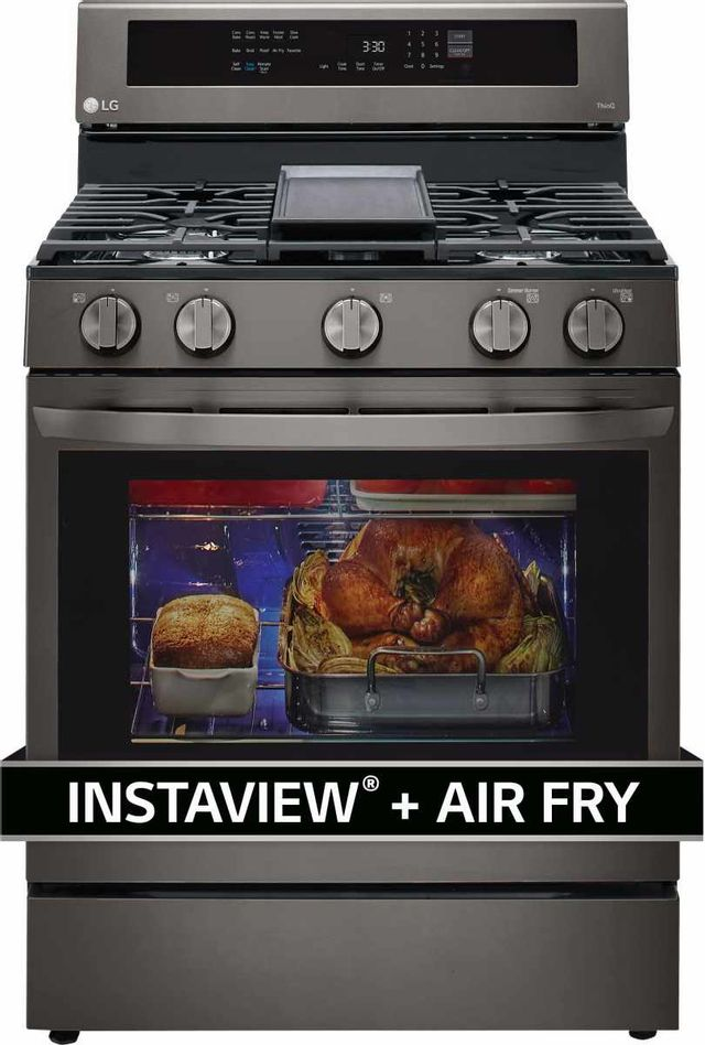 """LG 30"""" PrintProof™ Black Stainless Steel Free Standing Gas Convection Smart Range with Air Fry-LRGL5825D"""