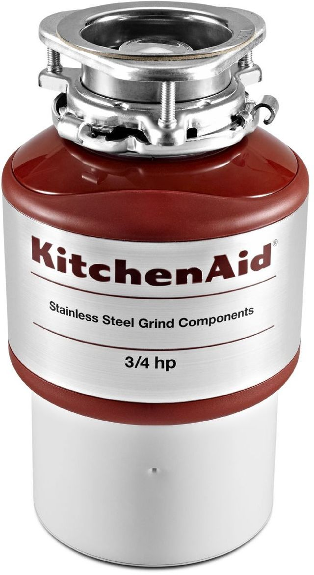 KitchenAid® 0.75 HP Continuous Feed Red Food Waste Disposer-KCDI075B