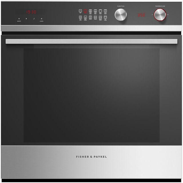 """Fisher Paykel 24"""" Electric Single Oven Built In-Black Glass with Stainless Steel-OB24SCDEPX1"""