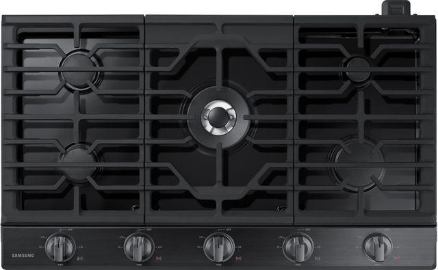 """Samsung 36"""" Gas Cooktop-Fingerprint Resistant Black Stainless Steel-NA36N6555TG"""