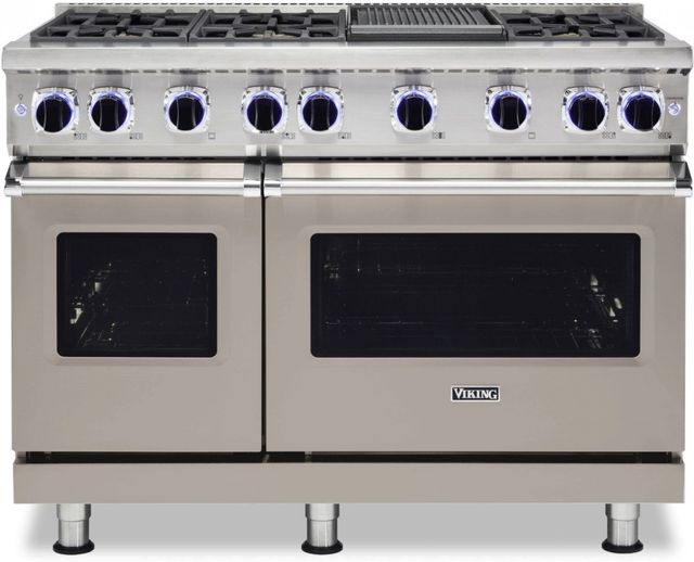 """Viking® 7 Series 48"""" Pacific Grey Pro Style Natural Gas Range with 12"""" Reversible Griddle-VGR74826GPG"""