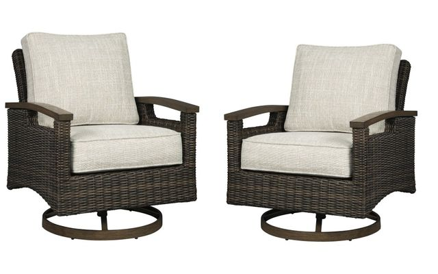 Signature Design by Ashley® Paradise Trail Medium Brown Set of 2 Swivel Lounge Chairs-P750-821