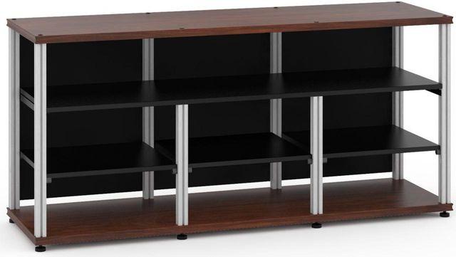 Salamander Designs® Synergy Open Center Triple 30 AV Cabinet-Dark Walnut/Aluminum-SLC30W/A