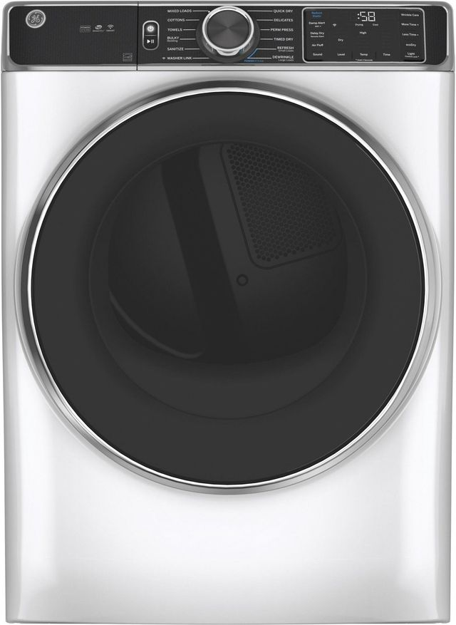 GE® 7.8 Cu. Ft. White Smart Front Load Gas Dryer-GFD85GSSNWW