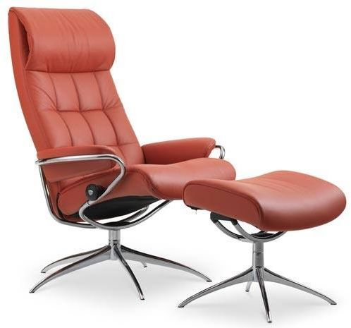 Stressless® by Ekornes® London High Back Star Base Chair and Ottoman-1340326