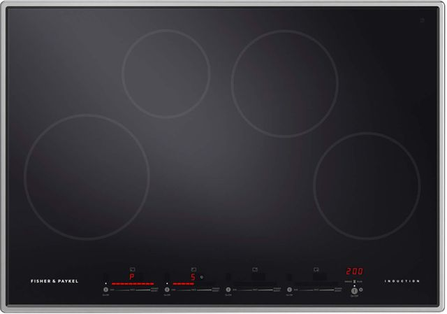 """Fisher & Paykel Series 9 30"""" Stainless Steel Frame with Black Glass Induction Cooktop-CI304PTX1 N"""