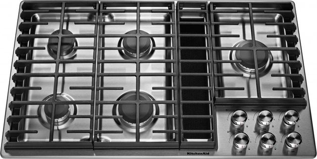 """KitchenAid® 36"""" Stainless Steel Gas Downdraft Cooktop-KCGD506GSS"""
