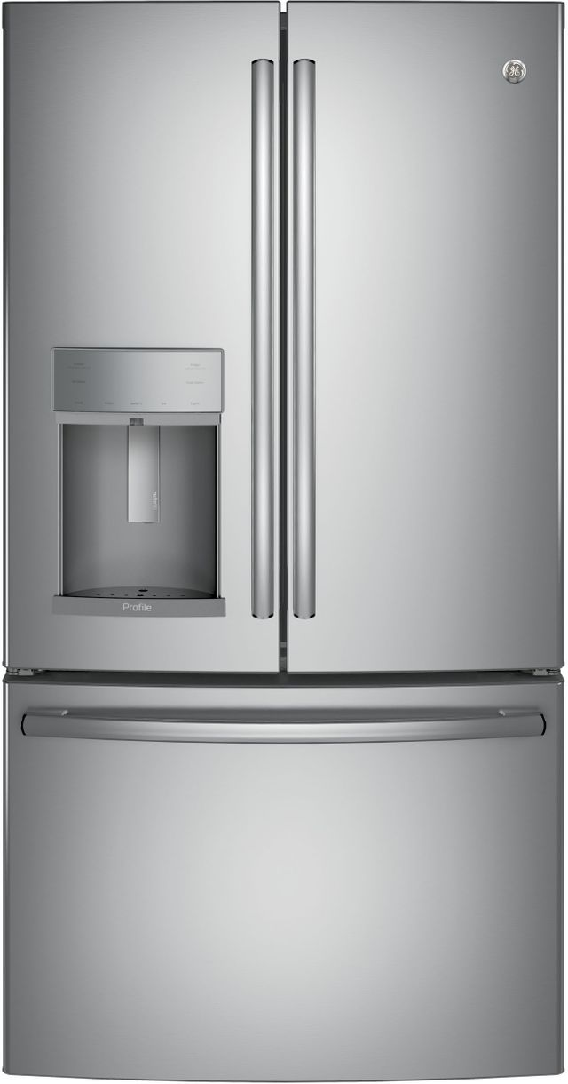 GE Profile™ 22.23 Cu. Ft. Stainless Steel Counter Depth French Door Refrigerator-PYE22KSKSS