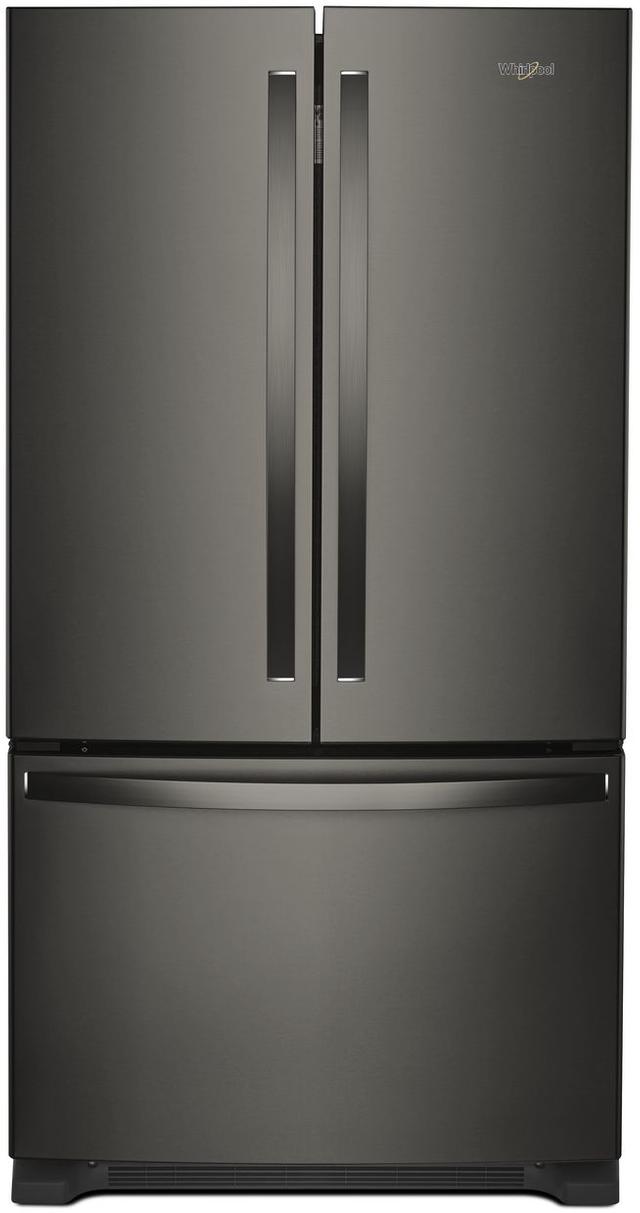 Whirlpool® 20 Cu. Ft. Wide Counter Depth French Door Refrigerator-Fingerprint Resistant Black Stainless Steel-WRF540CWHV