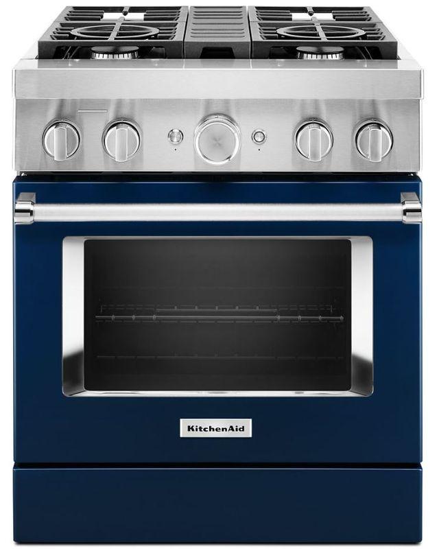 "KitchenAid® 30"" Ink Blue Commercial-Style Free Standing Dual Fuel Range-KFDC500JIB"