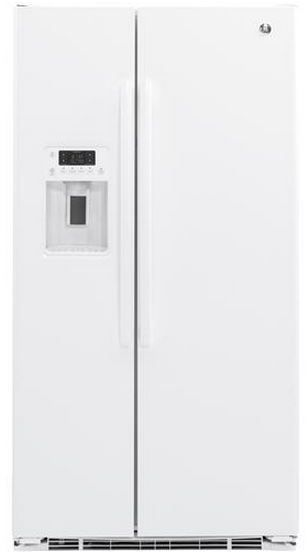 GE® 22.0 Cu. Ft. Counter Depth Side By Side Refrigerator-White-GZS22DGJWW