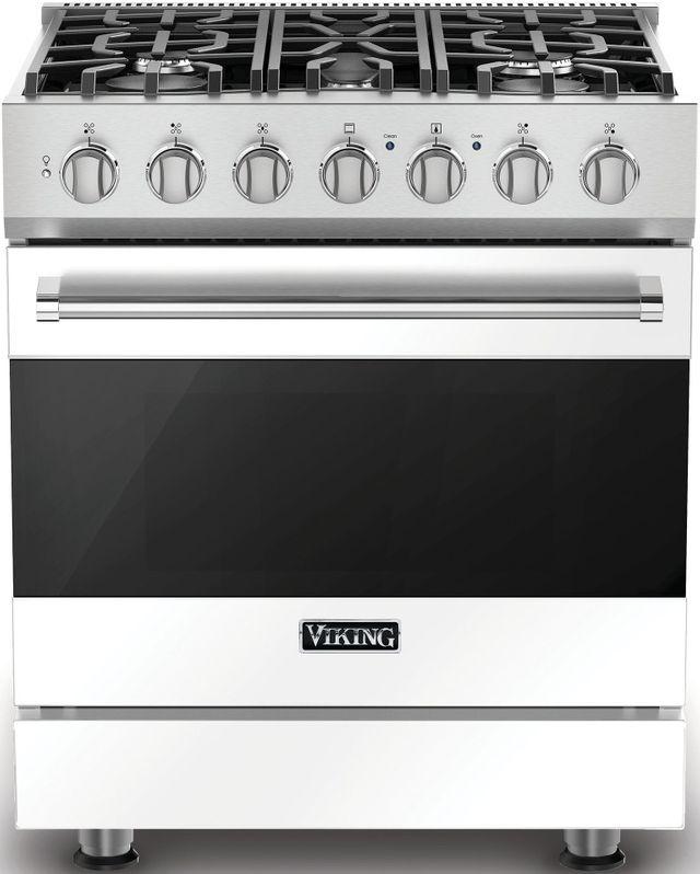 """Viking® 3 Series 30"""" Freestanding Dual Fuel Range-White-RVDR33025BWH"""