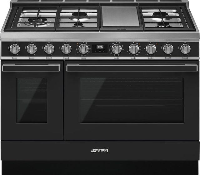 "Smeg Portofino Aesthetic 48"" Matte Black Pro Style Dual Fuel Range-CPF48UGMAN"