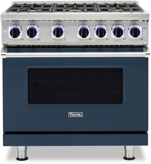 "Viking® 7 Series 36"" Slate Blue Pro Style Natural Gas Range-VGR73626BSB"
