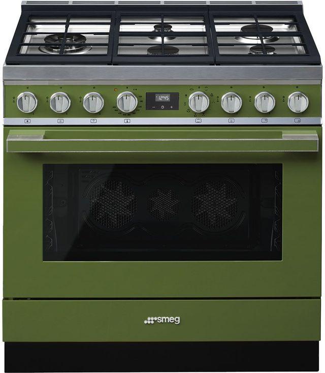 "Smeg 36"" Portofino Pro-Style Dual Fuel Range-Olive Green-CPF36UGMOG"