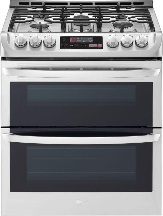 """LG 30"""" Stainless Steel Slide In Gas Double Oven Range-LTG4715ST-25-0825"""