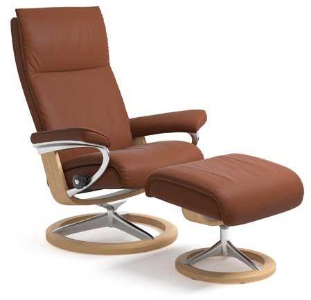Stressless® by Ekornes® Aura Medium Signature Base Chair and Ottoman-1343315