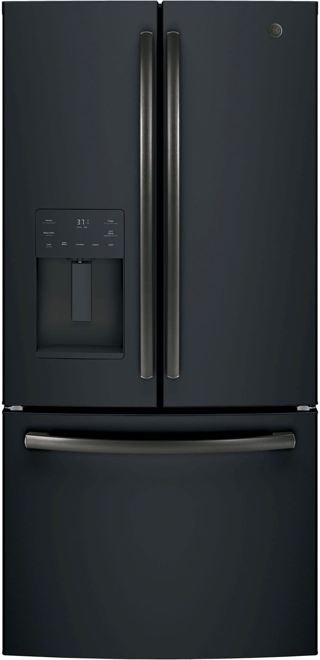 GE® 17.5 Cu. Ft. Counter Depth French Door Refrigerator- Black Slate-GYE18JEMDS-GYE18JEMDS