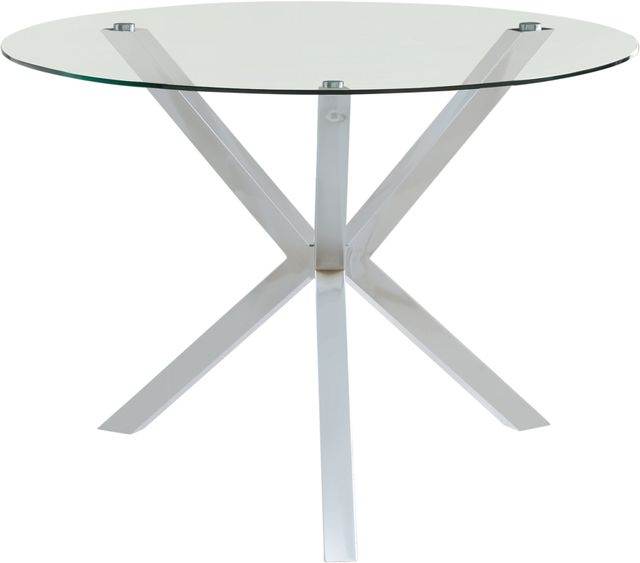 Coaster® Vance Glass Top Dining Table With X-Cross Base Chrome-120760