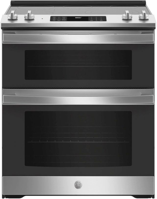 """GE® 30"""" Slide In Electric Convection Double Oven Range-JSS86SPSS"""