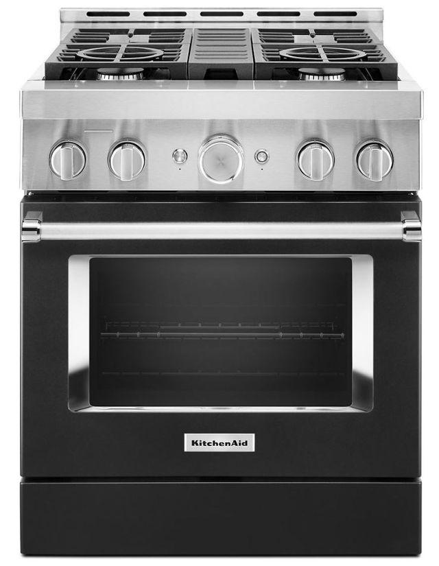 "KitchenAid® 30"" Imperial Black Smart Commercial-Style Gas Range-KFGC500JBK"