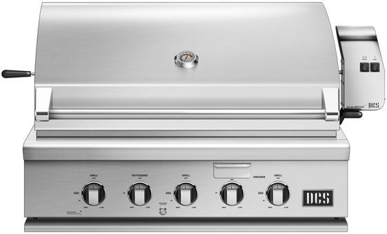 """DCS Series 7 35.88"""" Brushed Stainless Steel Traditional Built In Grill-BH1-36R-L"""