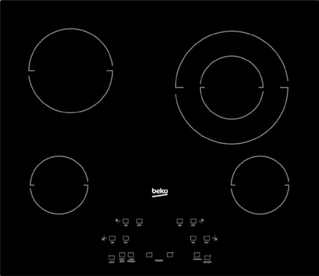 "Beko 24"" Black Glass Built In Electric Cooktop-ECTM24102"