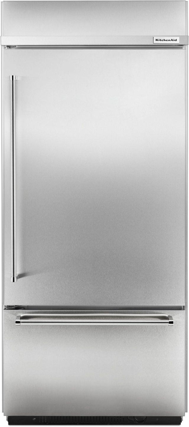 KitchenAid® 20.86 Cu. Ft. Stainless Steel Built In Bottom Freezer Refrigerator-KBBR306ESS