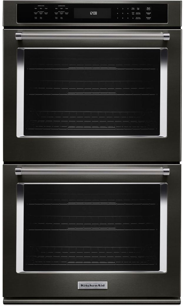 """KitchenAid® 27"""" Black Stainless Steel with PrintShield™ Finish Electric Double Oven Built In-KODE507EBS"""