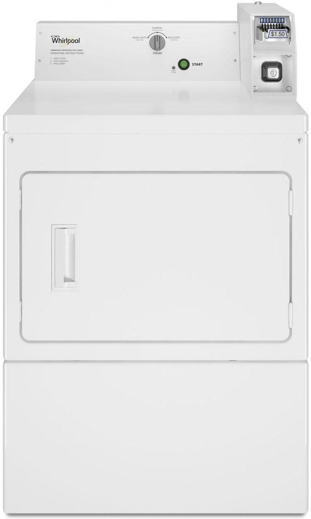 Whirlpool® Commercial 7.4 Cu. Ft. White Front Load Electric Dryer-CEM2745FQ
