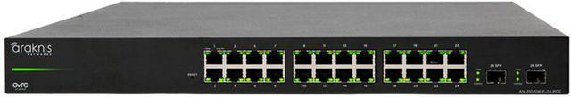 SnapAV Araknis Networks® 310 Series Black 24+2 Front Ports L2 Managed Gigabit Switch-AN-310-SW-F-24